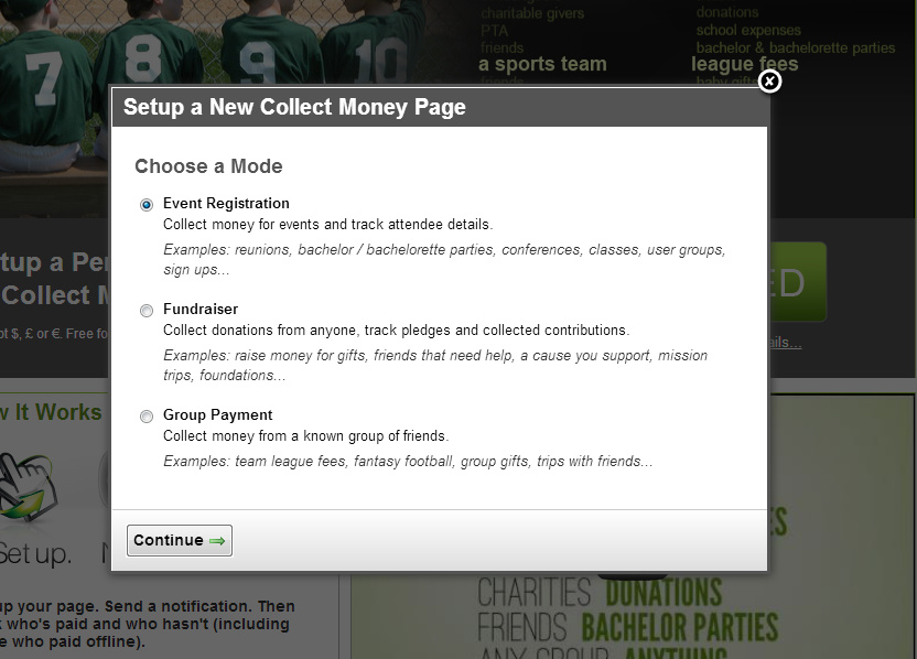 New Collect Money Page